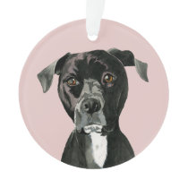 """Contemplating"" Pit Bull Dog Painting Ornament"