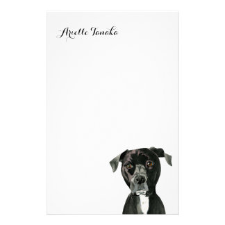 """""""Contemplating"""" Pit Bull Dog Painting Stationery"""