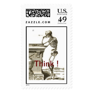 Contemplating Skeleton - THINK ! Stamps