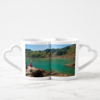 Contemplating the lagoon couples coffee mug