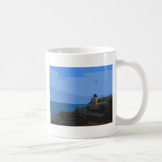 Contemplating the Stillness of the Sea Coffee Mug