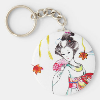 Contemplation Geisha by the pond and tree Keychain