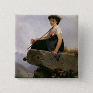 Contemplation (oil on panel) pinback button
