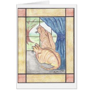 Contemplative Cats Card