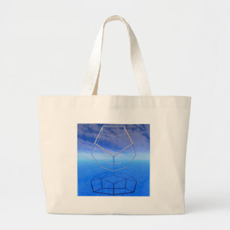 contemplative dodecahedral underpainting large tote bag