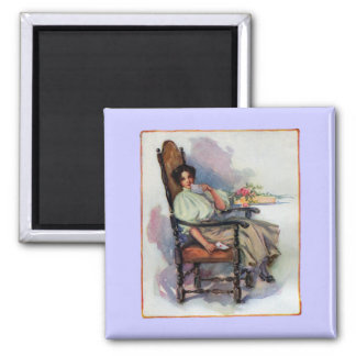 Contemplative Lady with Valentine 2 Inch Square Magnet
