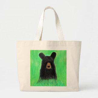 Contemplative Maine Black Bear Large Tote Bag