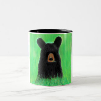 Contemplative Maine Black Bear Two-Tone Coffee Mug
