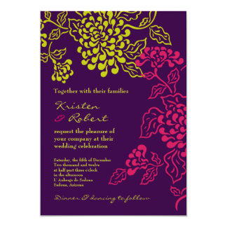 """Contempo (púrpura/chartreuse) v.2 floral invitación 5"""" x 7"""""""