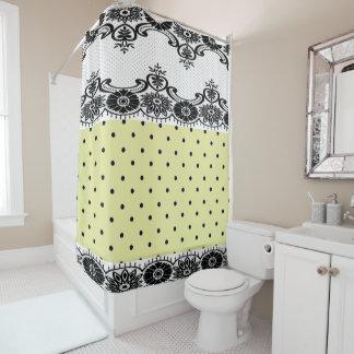 ContempO_Villa Yellow Polka Dots Black Lace Shower Curtain