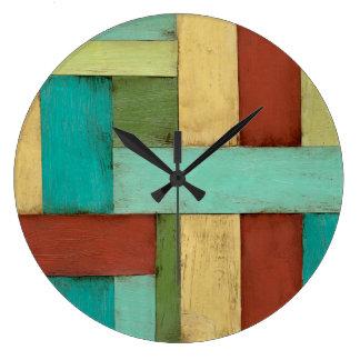 Contempoary Coastal Multicolored Painting Large Clock