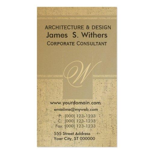 Contemporáneo envejecido de oro Antiqued Tarjeta Personal