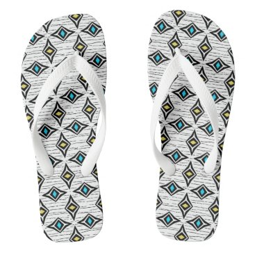 Aztec Themed Contemporary abstract diamond bohemian gems flip flops