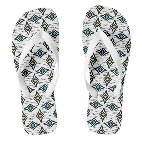 Contemporary abstract diamond bohemian gems flip flops