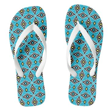 Aztec Themed Contemporary abstract diamond shaped gems flip flops