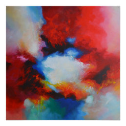 Contemporary Abstract Painting Red Yellow Blue Poster
