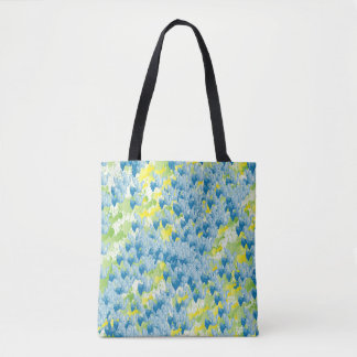 Contemporary Abstract Yellow Blue Pattern Tote Bag