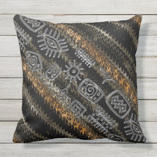 Contemporary African Motif Design Outdoor Pillow