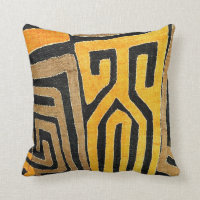 Contemporary African Mud Cloth Print Throw Pillow
