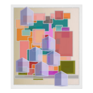Contemporary Art Abstract Cubes Pattern Poster
