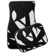 Contemporary Art   Black and White Car Floor Mat