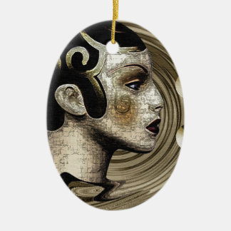 Contemporary: Art Deco/Art Double-Sided Oval Ceramic Christmas Ornament
