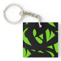 Contemporary Art Green / Black Keychain