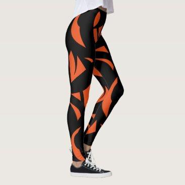 Art Themed Contemporary Art Orange / Black Leggings