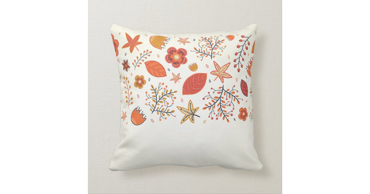 Modern Leaf Throw Pillow : Contemporary Autumn Leaf Pattern Decorative Throw Pillow Zazzle