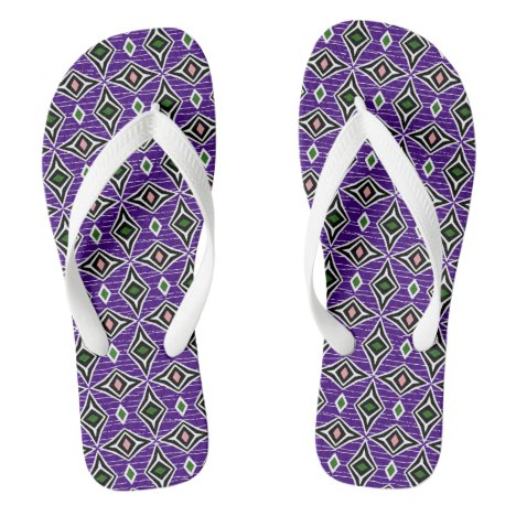 Contemporary aztec diamond shaped gems flip flops