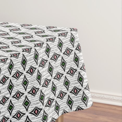 Contemporary aztec tribal green pink diamonds tablecloth