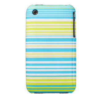 Contemporary baby blue yellow and white stripes iPhone 3 case