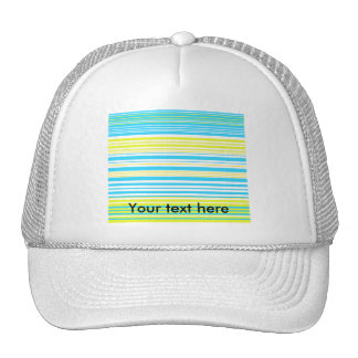 Contemporary baby blue yellow and white stripes trucker hats