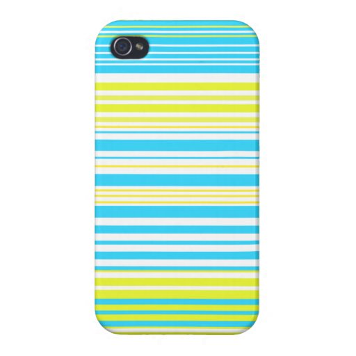 Contemporary baby blue yellow and white stripes iPhone 4 covers