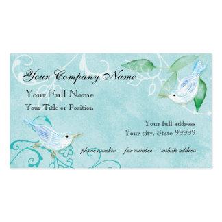 Contemporary Birds 'n Swirls Blue Business Cards