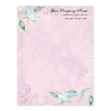 Professional Business Contemporary Birds 'n Swirls Lilac Stationery