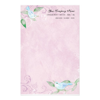 Contemporary Birds 'n Swirls Lilac Stationery