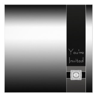 Contemporary Black and Silver Birthday Party Personalized Invitation