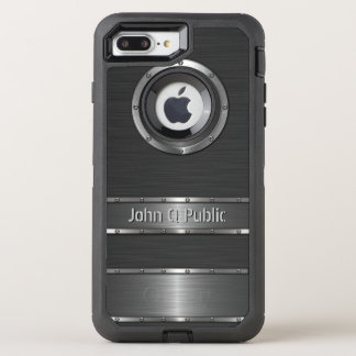 Contemporary Black and Silver OtterBox Defender iPhone 7 Plus Case