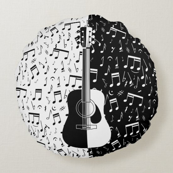 Contemporary black and white guitar music notes round pillow