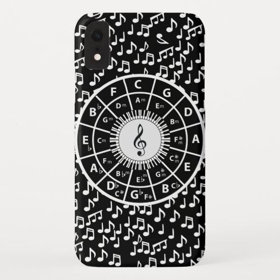 Contemporary black and white music wheel design iPhone XR case