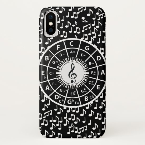 Contemporary black and white music wheel design iPhone XS case