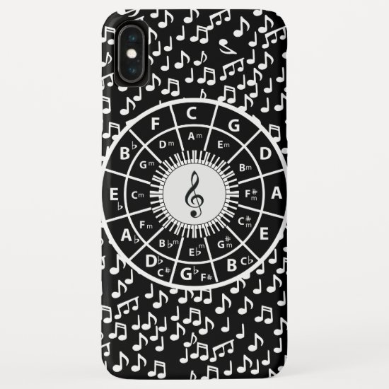 Contemporary black and white music wheel design iPhone XS max case
