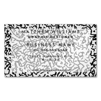 Contemporary Black and White Scribbles Pattern Magnetic Business Card