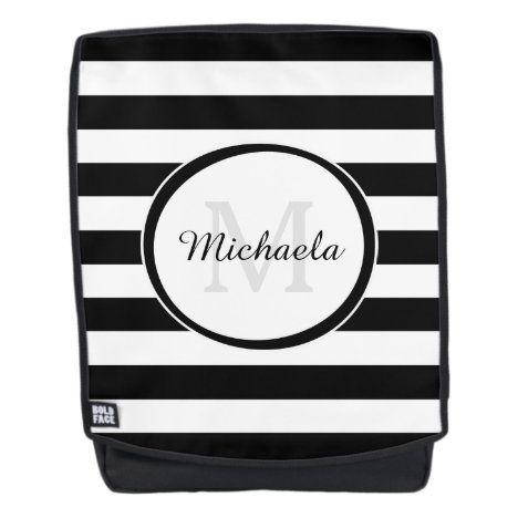 Contemporary Black and White Stripes With Monogram Backpack