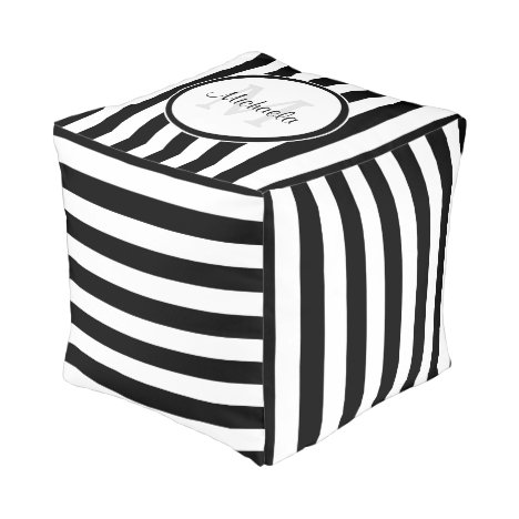 Contemporary Black and White Stripes With Monogram Pouf