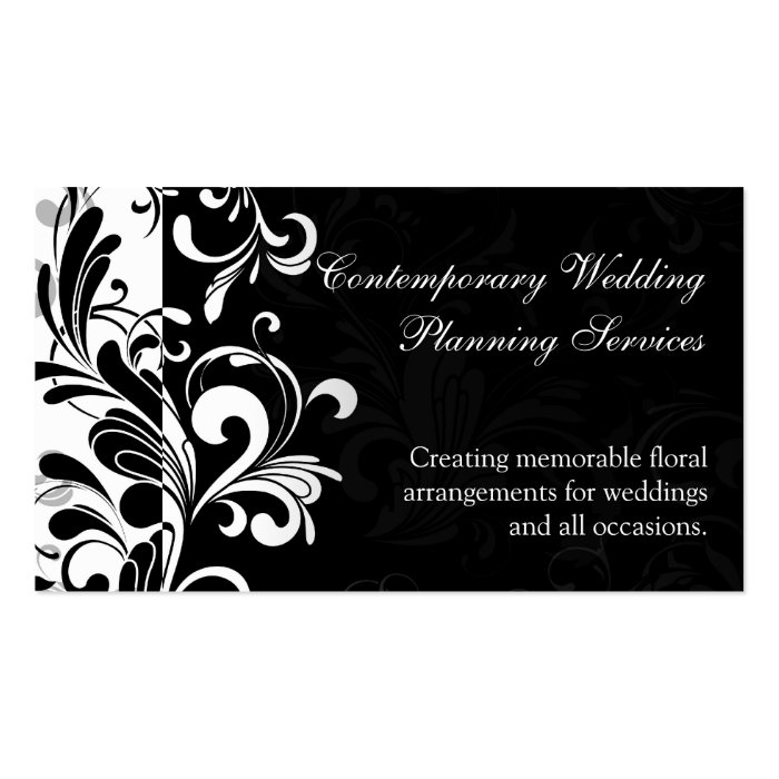 Contemporary Black and White Swirl Business Card