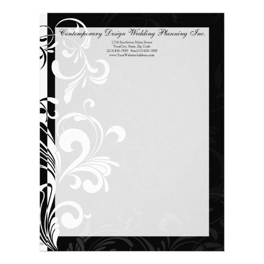 Contemporary Black and White Swirl Letterhead