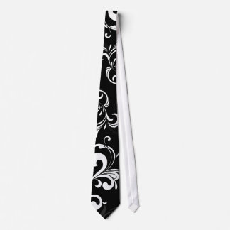 Contemporary Black and White Swirl Neck Tie