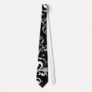 Contemporary Black and White Swirl Neck Tie